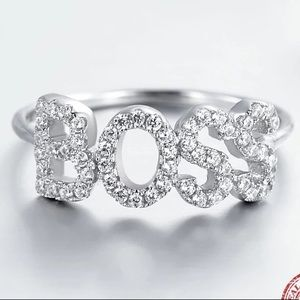 BOSS pave silver ring
